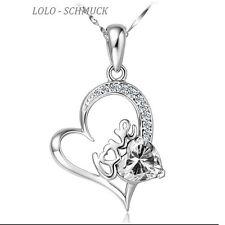 925 Silber Herz Anhänger GZ Kristalle mit Silberkette LOVE AAA Zirkonia Herz