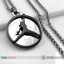 MEN Stainless Steel Jordan # 23 & JUMPMAN Logo Pendant Braid Necklace Black 13F