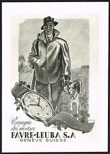 1940s Vintage 1945 Favre-Leuba Watch Co. Mid Century Modern Hunting Art Print AD