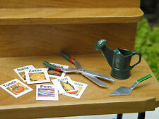 Miniature Dollhouse FAIRY GARDEN  ~ Watering Can Tool Set with Seed Packets