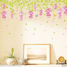Pink Vine Flowers & Butterfly Removable Wall Sticker Kids Girls Room