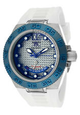Swiss Made 10885 Subaqua Silver Textured Dial White PU Strap Men's Watch
