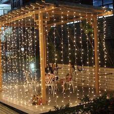 1000 LED Outdoor Waterproof Fairy Light String Curtain Wedding Xmas10x3M Warm
