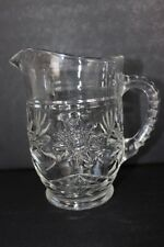 """Anchor Hocking Early American Prescut Clear Glass Pitcher Star of David 5.75"""""""