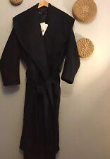 Zara Black Wool Blend Belted Long Coat With Wide Collar Size S Genuine Zara