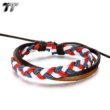 TT Mutli Colour Cotton Rope BrownLeather Bracelet Wristband (LB332) NEW Arrival