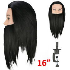 Hairdressing Training Beard Head 16''  Wig Hair  Mannequin Doll +Clamp UK