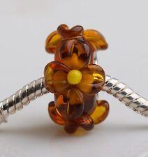 1pcs Big Flowers MURANO GLASS BEAD LAMPWORK Fit European Charm Bracelet QH028