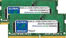 """8GB 2x4GB DDR4 2400MHz PC4-19200 260-PIN Sodimm Imac 27"""" con Retina 5K (2017) De Ram"""