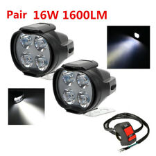 2 Pcs 16W 1600LM White LED Light with Switch for Motorcycle Headlight Fog Lamp
