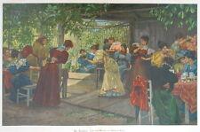 Kegeln, Damen-Kegelclub, Riesenfarbholzstich von ca. 1890