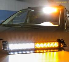 12 Led Emergency Warning Visor Lights Amber White Strobe Light Bar Flash Hazard
