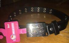 Hello Kitty belt Youth Girls sz S black & silver buckle Nwt Freeship