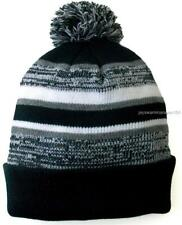 "Black Greay Cuffed Beanie Lined Knit Hat With Pom-Pom 12"" inch long"