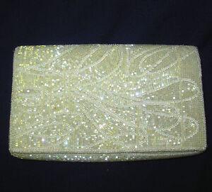 Danieli evening Clutch Handbag iridescent ivory tube beads 8.5 in snap closure