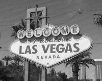 Welcome To Las Vegas Signe B&w A3 Affiche Brillant Décoration Murale Image
