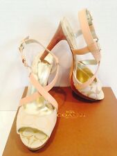 Coach Women Wendelle Strappy Heels Sandals Ivory/Khaki Fabric/Leather 8.5M NEW
