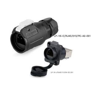 LP16 Industrial Waterproof M16 RJ45 Connector 8p8c Network Signal Ethernet Panel