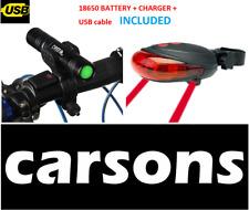 rechargeable front light & rear laser five 5 led light - bike lights set kit UK