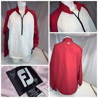FootJoy Golf Wind Rain Pullover XL Men White Black Red Nylon ¼ Zip YGI J0-610