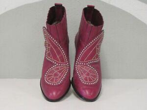 Sophia Webster Women's Karina Pink Butterfly Studded Leather Booties EU42 US11