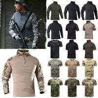 Military Tactical Combat T Shirt Army Quick Dry Hiking Moisture Camo Tee Shirts