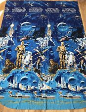 Vintage Star Wars Flat Twin Bed Sheet 1980s Fabric Craft Sewing R2D2 C3PO Han