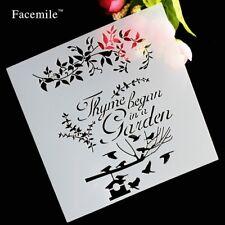 13cmx13cm Stencil, Thyme starts in a Garden, scrap booking, Decoupage -C040