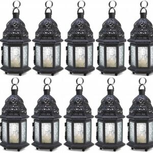 Lot of 10 Wedding Candle Lantern Small Candleholder Black Centerpieces