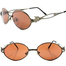 Genuine Vintage Funky Crocodile Temple Mens Womens Metal Round Oval Sunglasses