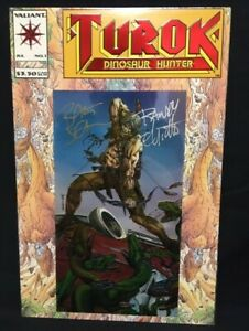 Turok Dinosaur Hunter #1 signed by Bart Sears Randy Elliott Valiant Comics 1993