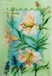 """Easter Blessings Garden Flag by Toland # 2235,  12"""" x 18"""" Colorfast!"""