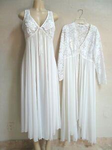 VINTAGE MISS ELAINE silky NYLON NIGHTGOWN ROBE SET bridal LACE size M