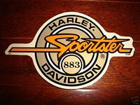 """HARLEY DAVIDSON GOLD CIRCLE SPORTSTER 883 DECAL STICKER 9"""" X 5.25"""" (OUTSIDE)NEW"""