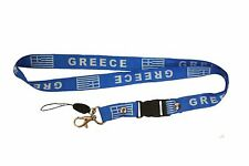 GREECE BLUE COUNTRY FLAG LANYARD KEYCHAIN PASSHOLDER .. NEW