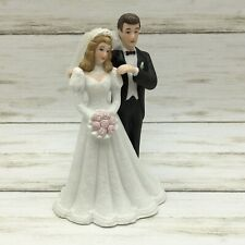 Vintage 1988 Roman Porcelain Bride Groom Congratulations Figurine Blonde Wedding