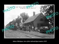 OLD 8x6 HISTORIC PHOTO OF ATHENS MICHIGAN, THE RAILROAD DEPOT STATION c1915