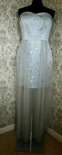 Grey mini maxi party dress MARIOS SCHWAB Size 12 NWT Mesh over sheen Sequin trim