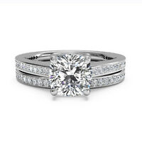 1.05 Ct Diamond Engagement Ring 14K Solid White Gold Cushion Band Set Size M N