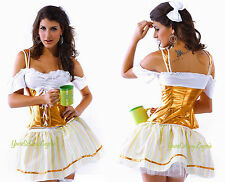 Sexy Beer Girl OKTOBERFEST Costume Barvarian Maiden GOLD COSPLAY Halloween OS