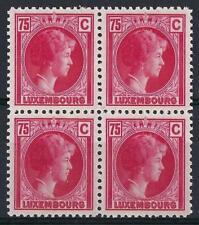 Luxembourg 1926 Sc# 174 Charlotte 75c rose block 4 MNH