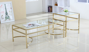 Coffee Table Glass Top with Stainless Steel Gold Base Brand New