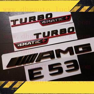2020 Mercedes Benz E53 Coupe AMG Emblem TURBO 4MATIC+ Fender Badge Red Black SET