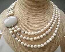 Elegant Triple Row Genuine Cream Freshwater Pearl & Quartz Knotted Necklace