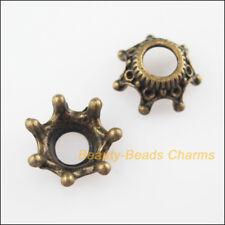 10Pcs Antiqued Bronze Tone Crown Flower End Bead Caps Connectors 13mm