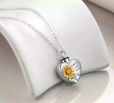 Urn Heart Sunflower Cremation Ashes Necklace pet Memorial Keepsake Pendant 246