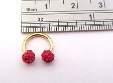Gold Titanium Small 8 mm Horseshoe Hoop Ring Red Crystal Balls 16 gauge 16g