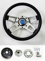 "C10 C20 C30 Blazer Grant Black Steering Wheel 4 spoke 13 1/2"" blue bowtie cap"