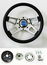 "C10 C20 C30 Blazer Grant Black Steering Wheel 4 spoke 13 1/2"" blue bowtie cap"