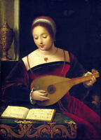 """perfect oil painting handpainted on canvas"""" Playing the lute """"@N13111"""
